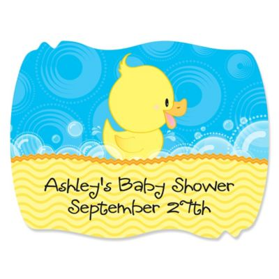 Ducky Duck   Personalized Baby Shower Squiggle Stickers   16 Ct