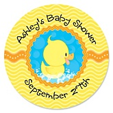 Ducky Duck - Personalized Baby Shower Round Sticker Labels - 24 Count