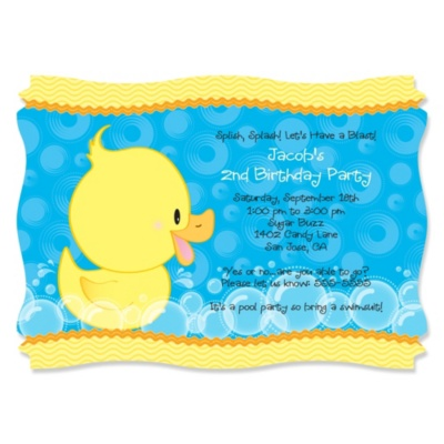 Ducky Duck - Personalized Birthday Party Invitations