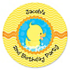 Ducky Duck - Personalized Birthday Party Sticker Labels - 24 ct