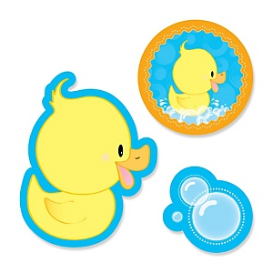 Ducky Duck - Shaped Party Paper Cut-Outs - 24 ct