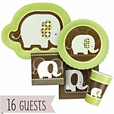 Baby Elephant - Baby Shower Tableware Bundle for 16 Guests