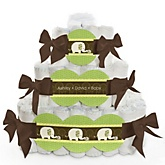 Baby Elephant - 3 Tier Personalized Square Baby Shower Diaper Cake