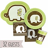Baby Elephant - Baby Shower Tableware Bundle for 32 Guests