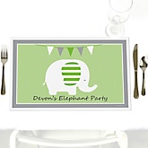 Baby Elephant - Personalized Baby Shower Placemats