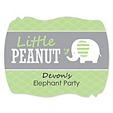 Baby Elephant - Personalized Baby Shower Squiggle Sticker Labels - 16 Count