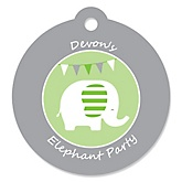 Elephant - Round Personalized Party Tags - 20 ct