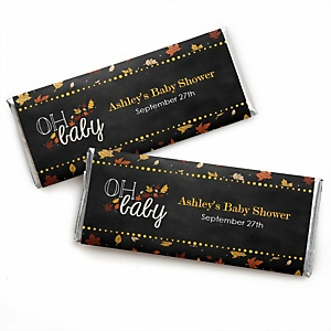 Oh Baby - Fall - Personalized Baby Shower Candy Bar Wrapper Favors