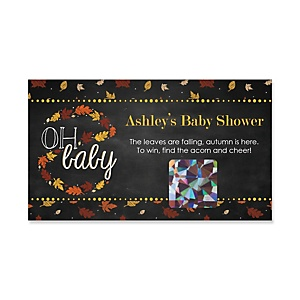 Oh Baby - Fall - Personalized Baby Shower Game Scratch Off Cards - 22 ct