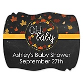 Oh Baby - Fall - Personalized Baby Shower Squiggle Sticker Labels - 16 Count