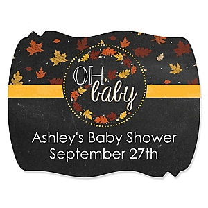 Oh Baby - Fall - Personalized Baby Shower Squiggle Stickers - 16 ct