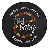 Oh Baby - Fall - Personalized Baby Shower Round Sticker Labels - 24 Count
