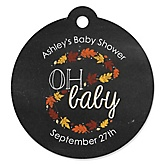 Oh Baby - Fall - Personalized Baby Shower Round Tags - 20 Count