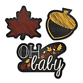 Oh Baby - Fall - Shaped Baby Shower Paper Cut-Outs - 24 ct