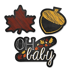 Oh Baby - Fall - Shaped Party Paper Cut-Outs - 24 ct