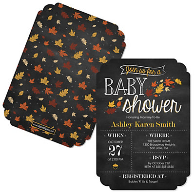 Oh Baby - Fall - Shaped Baby Shower Invitations Baby Shower Party Supplies
