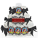 Farm Animals - 3 Tier Personalized Square Baby Shower Diaper Cake