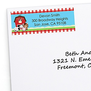 Farm Animals - Personalized Personalized Baby Shower Return Address Labels - 30 ct