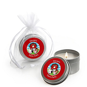 Farm Animals - Candle Tin Personalized Baby Shower Favors