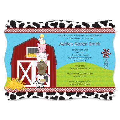 Elegant Farm Animals   Personalized Baby Shower Invitations
