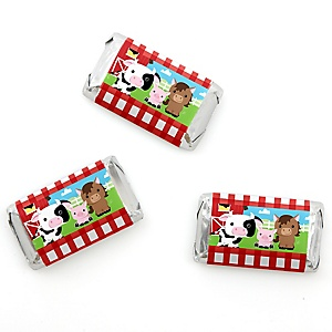 Farm Animals - Personalized Baby Shower Mini Candy Bar Wrapper Favors - 20 ct