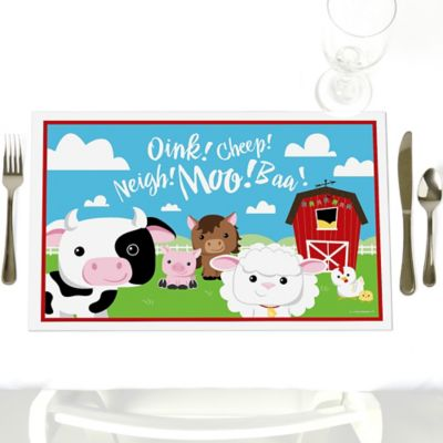 Farm Animals   Personalized Baby Shower Placemats