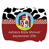 Farm Animals - Personalized Baby Shower Squiggle Sticker Labels - 16 Count