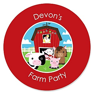 Farm Animals - Personalized Baby Shower Round Sticker Labels - 24 Count