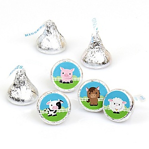 Farm Animals - Round Candy Labels Baby Shower Favors - Fits Hershey's Kisses - 108 Count