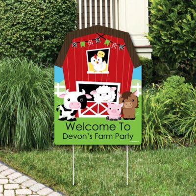 Farm Animals   Party Decorations   Birthday Party Or Baby Shower  Personalized Welcome Yard Sign