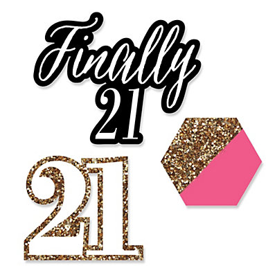 Finally 21 girl 21st birthday shaped party paper cut for 21st birthday decoration ideas for girls