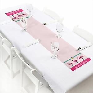 Flamingo - Party Like a Pineapple - Personalized Baby Shower Petite Table Runners