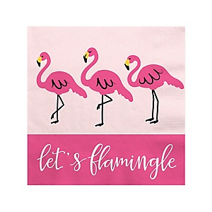 Flamingo - Party Like a Pineapple - Baby Shower Beverage Napkins - 16 Pack