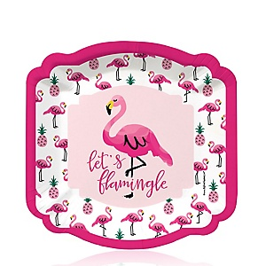 Flamingo - Party Like a Pineapple - Baby Shower Dessert Plates - 8 Pack