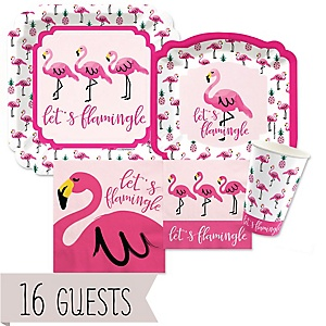 Flamingo - Party Like a Pineapple - Baby Shower Tableware Bundle for 16 Guests