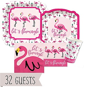 Flamingo - Party Like a Pineapple - Baby Shower Tableware Bundle for 32 Guests