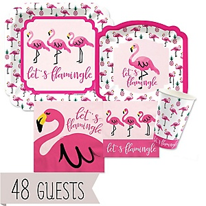 Flamingo - Party Like a Pineapple - Baby Shower Tableware Bundle for 48 Guests