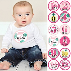 Flamingo - Party Like a Pineapple - Baby Monthly Sticker Set - 12 Pieces