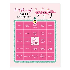 Flamingo - Party Like a Pineapple - Bingo Personalized Baby Shower Games - 16 Count