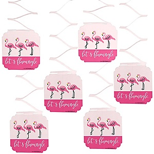 Flamingo - Party Like a Pineapple - Baby Shower Hanging Decorations - 6 Count