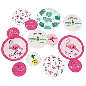 Flamingo - Party Like a Pineapple - Personalized Baby Shower Table Confetti - 27 ct