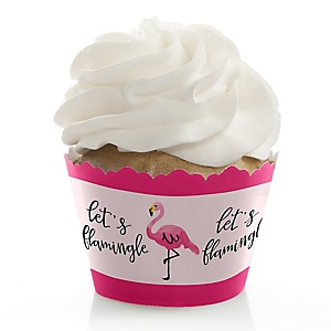 Flamingo - Party Like a Pineapple - Baby Shower Cupcake Wrappers