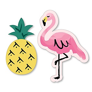 Flamingo - Party Like a Pineapple - Shaped Baby Shower Paper Cut-Outs - 24 ct