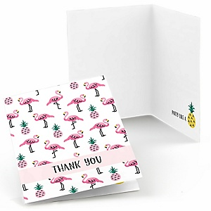 Flamingo - Party Like a Pineapple - Baby Shower Thank You Cards - Set of  8