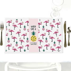 Flamingo - Party Like a Pineapple - Personalized Baby Shower Placemats