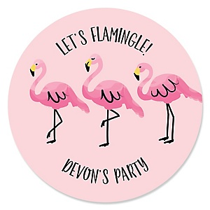 Flamingo - Party Like a Pineapple - Personalized Baby Shower Round Sticker Labels - 24 Count