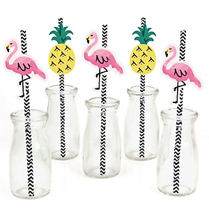 Flamingo - Party Like a Pineapple - Paper Straw Decor - Baby Shower or Birthday Party Striped Decorative Straws - Set of 24