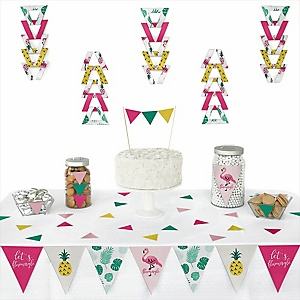 Flamingo - Party Like a Pineapple - Baby Shower Triangle Decoration Kits - 72 Count
