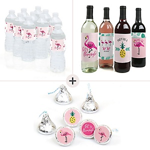 Flamingo - Party Like a Pineapple - Party Decorations & Favors Kit – Wine, Water and Candy Labels Trio Sticker Set