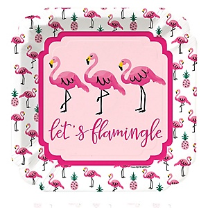 Flamingo - Party Like a Pineapple - Baby Shower Dinner Plates - 8 Pack